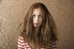 Young Woman with Messy Hair royalty free stock photography