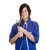 Young woman with metal tool Stock Photo