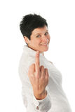 Young woman with middle finger up Royalty Free Stock Image