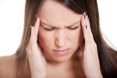 Young woman with migraine Stock Images
