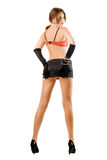 Young woman in miniskirt. Young sexy woman posing in black miniskirt. Isolated Stock Photos