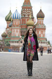 Young woman in a mink coat on the Red Square in Moscow Royalty Free Stock Photos