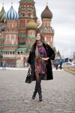 Young woman in a mink coat on the Red Square in Moscow Stock Image