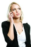 Young woman with mobil. Young and beautiful woman with mobil royalty free stock photos