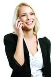 Young woman with mobil. Young and beautiful woman with mobil stock photography