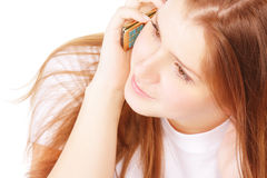Young woman with mobile Stock Images