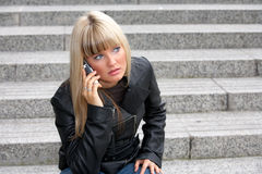 Young Woman On Mobile Phone Royalty Free Stock Photos