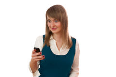 Young woman with mobile phone. Royalty Free Stock Images