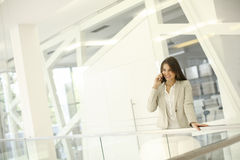 Young woman with mobile phone in the office Stock Image