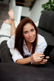 Young woman with the mobile Royalty Free Stock Photo