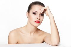 Young woman model with glamour red lips Royalty Free Stock Photos