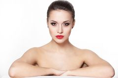 Young woman model with glamour red lips Stock Photography