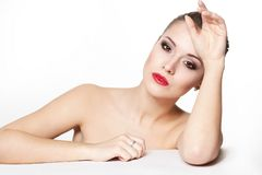 Young woman model with glamour red lips Royalty Free Stock Photo