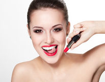 Young woman model with glamour red lips royalty free stock images