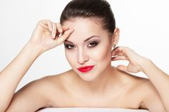 Young woman model with glamour red lips Stock Images