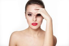 Young woman model with glamour red lips Stock Photo