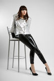 Young woman model in leather trousers Stock Photo