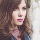 Young Woman Model Outdoor. Face Closeup Royalty Free Stock Photos