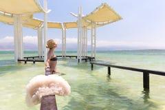 Young woman model posing bikini inside sea. Stock Photos