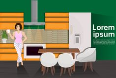 Young Woman In Modern Kitchen Room Interior With Cooking Appliances And Furniture. Vector Illustration Royalty Free Stock Photo