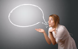 Young woman with modern speech bubble Royalty Free Stock Images