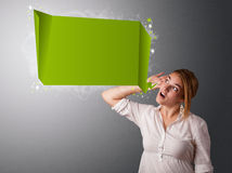 Young woman with modern speech bubble. And copy space Stock Images