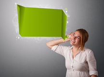Young woman with modern speech bubble. And copy space Stock Photography