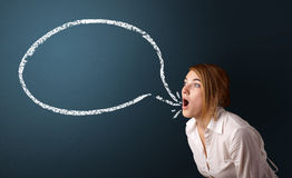 Young woman with modern speech bubble Stock Photos