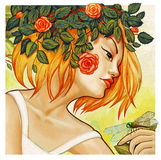 Young woman modern style artistic illustration. Artistic digital modern style illustration portrait of a young blonde woman symbolizing summer time stock illustration