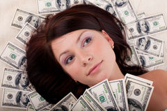 Young woman with money. Stock Images