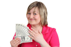 Young woman with money Royalty Free Stock Image