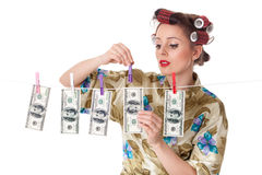 Young woman with money. Royalty Free Stock Images