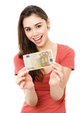 Young woman with money Royalty Free Stock Photography