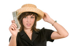 Young woman with money Royalty Free Stock Images