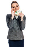 Young woman money earning Stock Photo