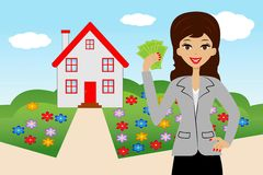 Young woman with money in hands on a background a new house Stock Photos