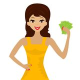 Young woman with money in hands Royalty Free Stock Images