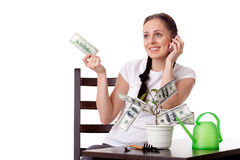 Young woman with money tree. Stock Images