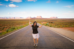 Young woman  in Monument Valley Stock Photo
