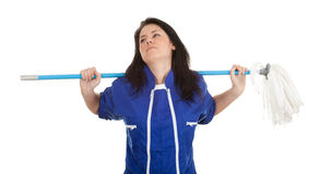 Young woman with mop Stock Photo
