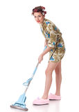 Young woman with mop. Royalty Free Stock Images