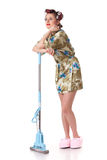 Young woman with mop. Stock Photography