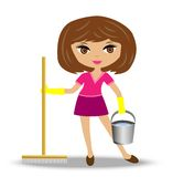 Young woman  with mop and bucket in hand Stock Image