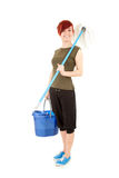 Young woman with mop ready to cleaning floor Royalty Free Stock Images