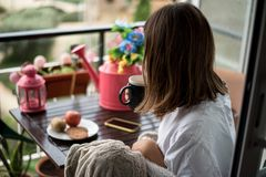 Young woman with a morning breakfast stock photos