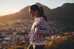 Young woman on morning walk Stock Photography