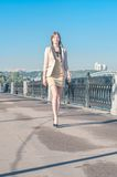 Young woman at moscow embankment Royalty Free Stock Photo