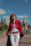 Young woman in Moscow Kremlin Royalty Free Stock Images