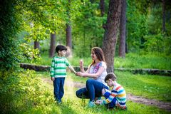 Young woman mother applying insect repellent to her two son before forest hike beautiful summer day or evening. Protecting. Young women mother applying insect stock images