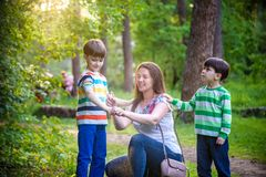 Young woman mother applying insect repellent to her two son before forest hike beautiful summer day or evening. Protecting. Young women mother applying insect stock photo